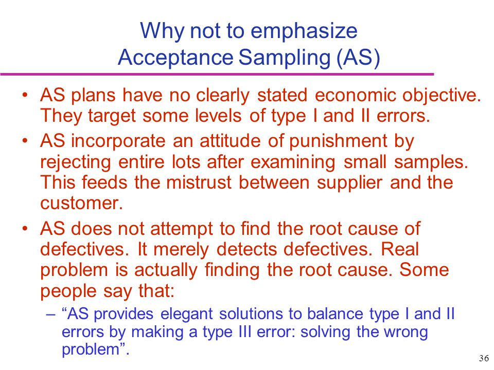 36 Why not to emphasize Acceptance Sampling (AS) AS plans have no clearly stated economic objective. They target some levels of type I and II errors.