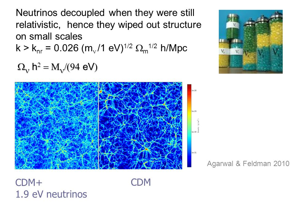 Neutrinos decoupled when they were still relativistic, hence they wiped out structure on small scales k > k nr = 0.026 (m  /1 eV) 1/2  m 1/2 h/Mpc  CDM+ 1.9 eV neutrinos CDM   h    eV  Agarwal & Feldman 2010