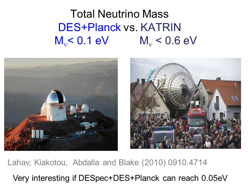 Total Neutrino Mass DES+Planck vs.