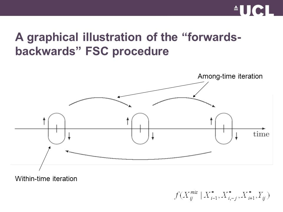 A graphical illustration of the forwards- backwards FSC procedure Within-time iteration Among-time iteration