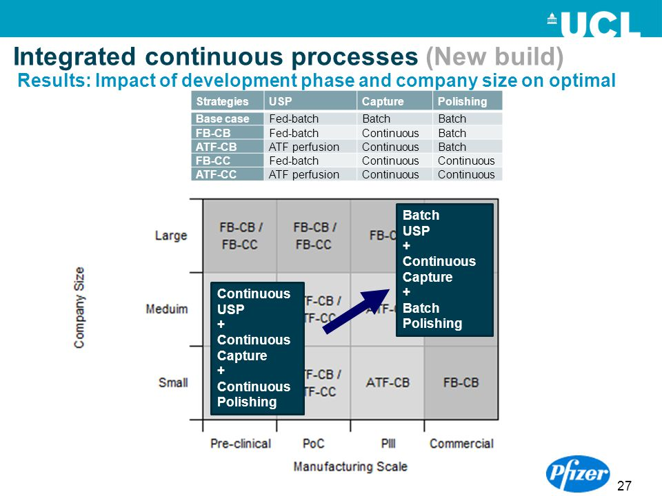 27 Integrated continuous processes (New build) Results: Impact of development phase and company size on optimal StrategiesUSPCapturePolishing Base cas