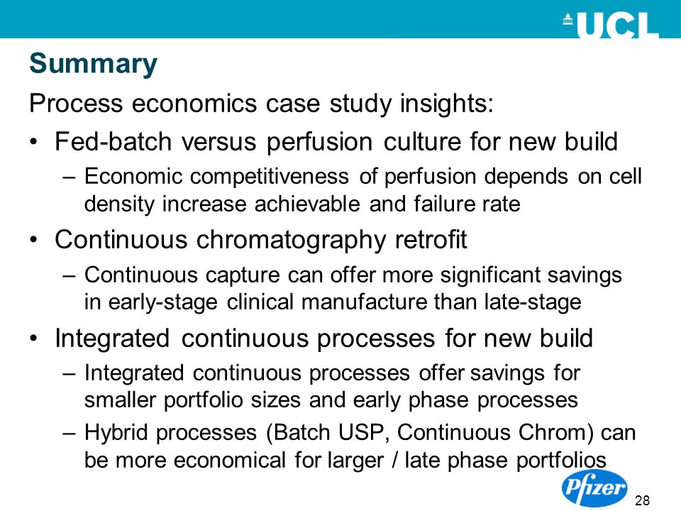 28 Summary Process economics case study insights: Fed-batch versus perfusion culture for new build –Economic competitiveness of perfusion depends on c