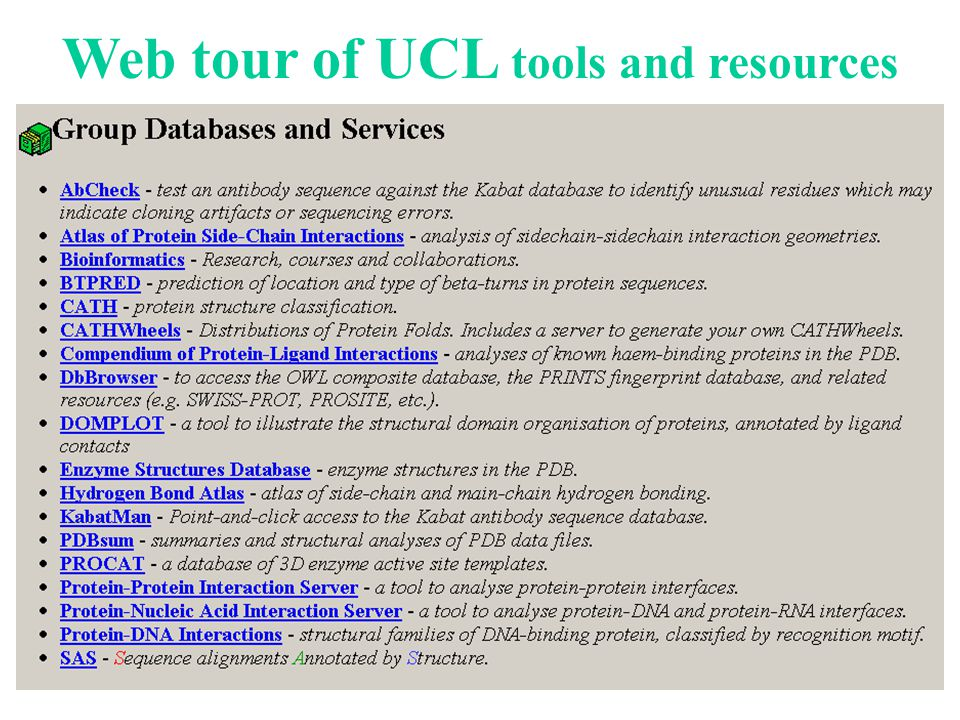 Web tour of UCL tools and resources