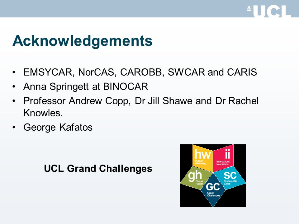 Acknowledgements EMSYCAR, NorCAS, CAROBB, SWCAR and CARIS Anna Springett at BINOCAR Professor Andrew Copp, Dr Jill Shawe and Dr Rachel Knowles.