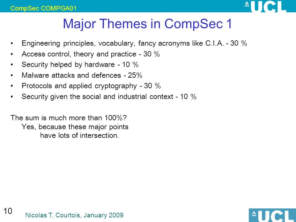 CompSec COMPGA01 Nicolas T. Courtois, January 2009 10 Major Themes in CompSec 1 Engineering principles, vocabulary, fancy acronyms like C.I.A. - 30 %