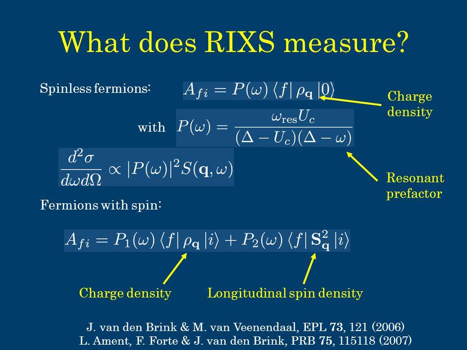 What does RIXS measure. Spinless fermions: J. van den Brink & M.