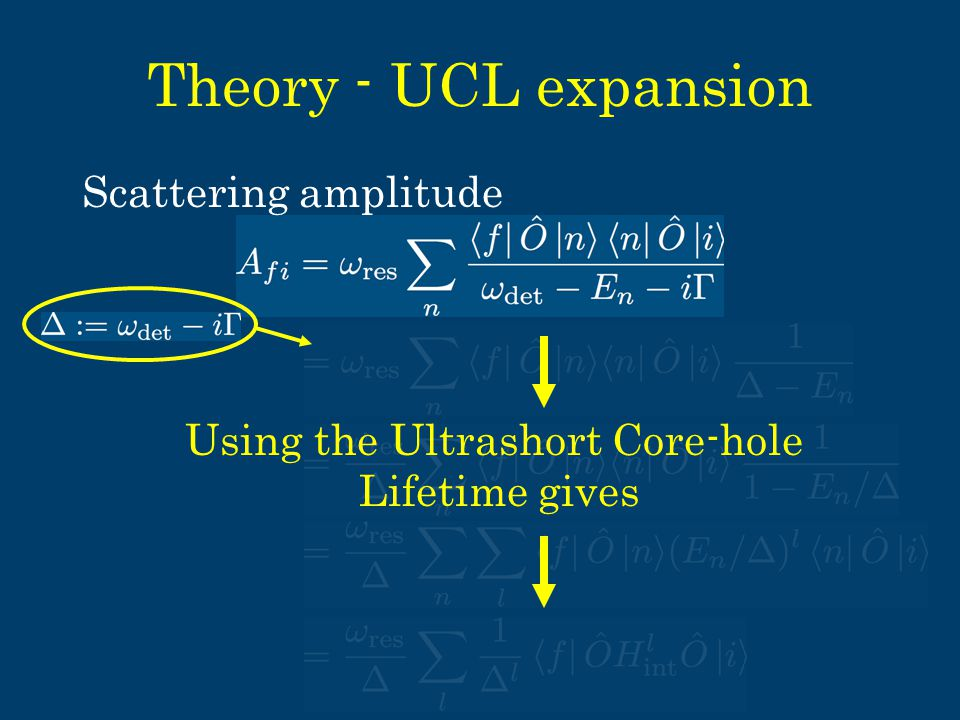 Theory - UCL expansion Using the Ultrashort Core-hole Lifetime gives Scattering amplitude