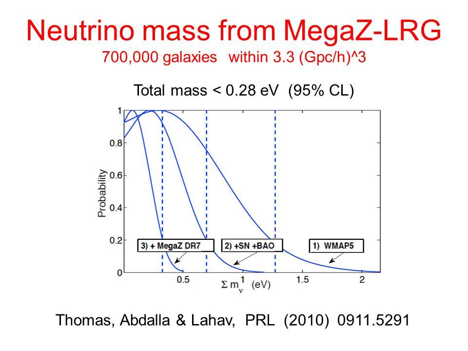 Neutrino mass from MegaZ-LRG 700,000 galaxies within 3.3 (Gpc/h)^3 Thomas, Abdalla & Lahav, PRL (2010) 0911.5291 Total mass < 0.28 eV (95% CL)