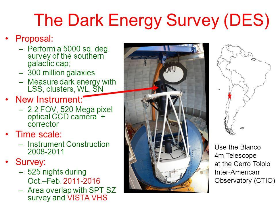 The Dark Energy Survey (DES) Proposal: –Perform a 5000 sq.
