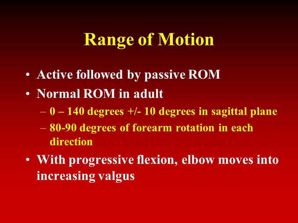 Range of Motion Active followed by passive ROM Normal ROM in adult –0 – 140 degrees +/- 10 degrees in sagittal plane –80-90 degrees of forearm rotation in each direction With progressive flexion, elbow moves into increasing valgus