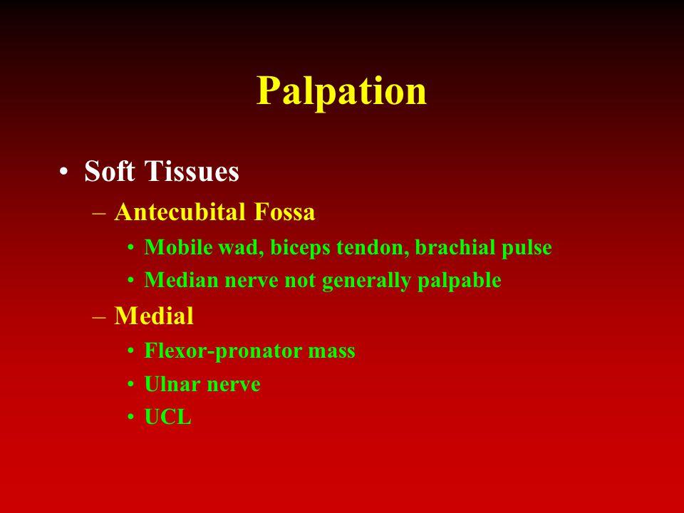 Palpation Soft Tissues –Antecubital Fossa Mobile wad, biceps tendon, brachial pulse Median nerve not generally palpable –Medial Flexor-pronator mass U