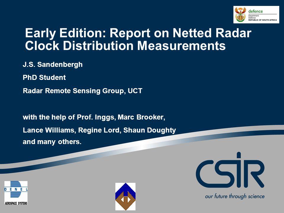 Slide 12 © CSIR 2006 www.csir.co.za Processing of Data