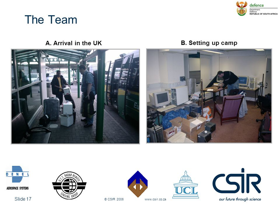 Slide 17 © CSIR 2006 www.csir.co.za The Team Pulse-to-pulse phase difference A. Arrival in the UK B. Setting up camp