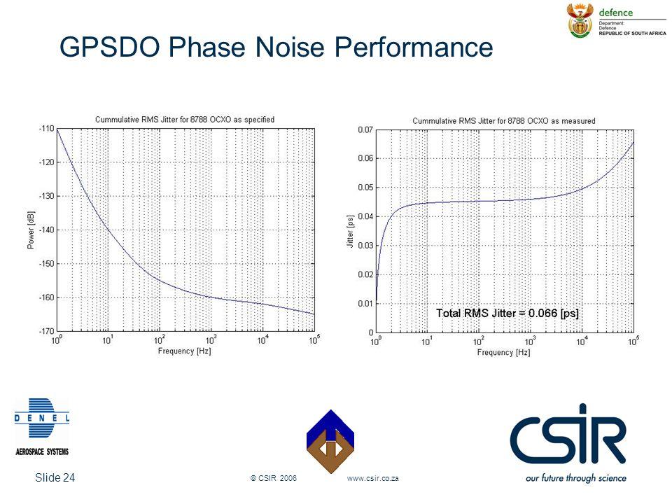Slide 24 © CSIR 2006 www.csir.co.za GPSDO Phase Noise Performance