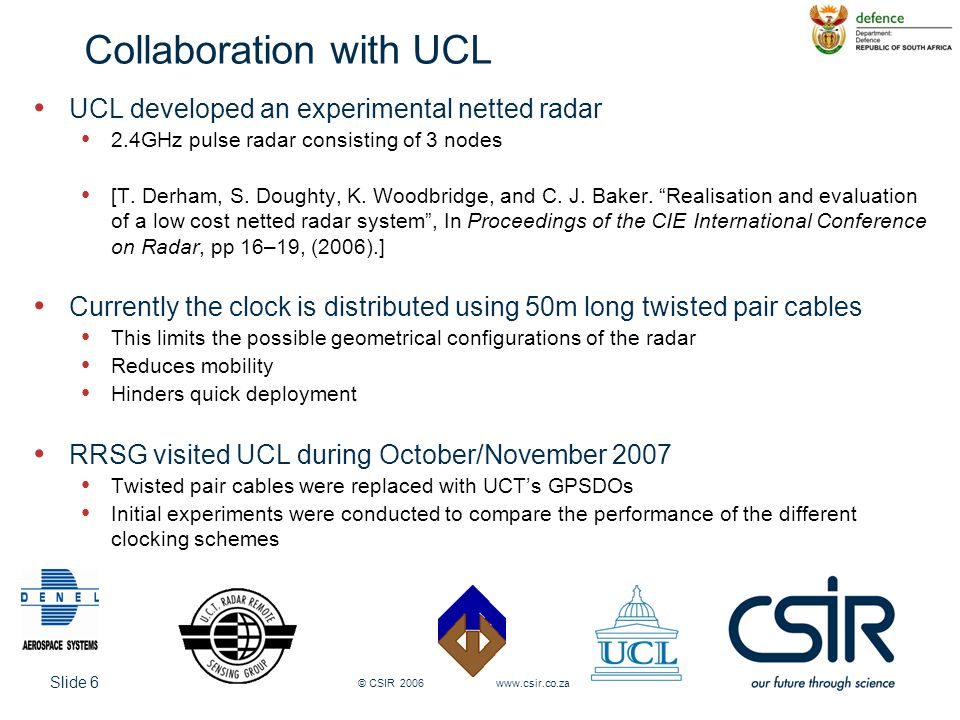 Slide 6 © CSIR 2006 www.csir.co.za Collaboration with UCL UCL developed an experimental netted radar 2.4GHz pulse radar consisting of 3 nodes [T. Derh