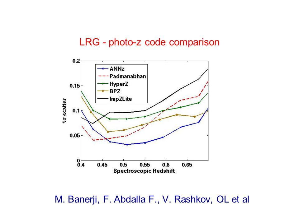 LRG - photo-z code comparison M. Banerji, F. Abdalla F., V. Rashkov, OL et al