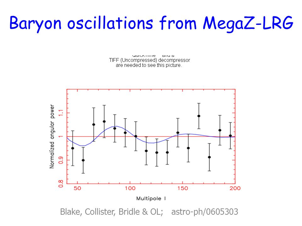 Baryon oscillations from MegaZ-LRG Blake, Collister, Bridle & OL; astro-ph/0605303