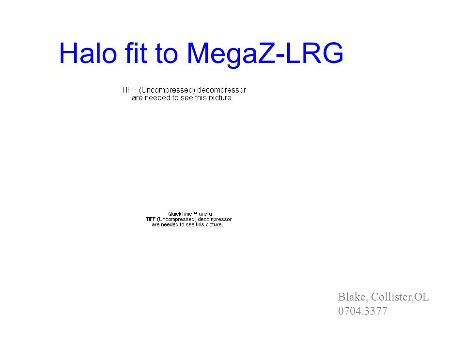 Halo fit to MegaZ-LRG Blake, Collister,OL 0704.3377
