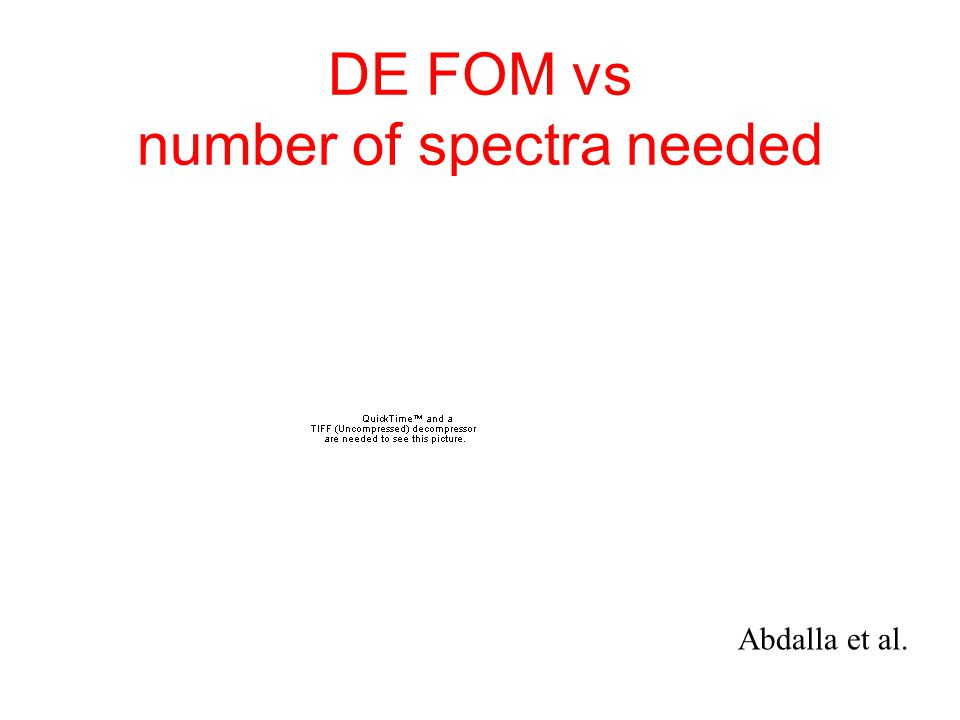 DE FOM vs number of spectra needed Abdalla et al.