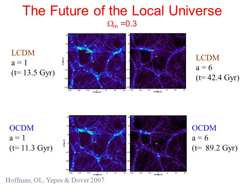 The Future of the Local Universe  m =0.3 LCDM a = 1 (t= 13.5 Gyr) OCDM a = 1 (t= 11.3 Gyr) LCDM a = 6 (t= 42.4 Gyr) OCDM a = 6 (t= 89.2 Gyr) Hoffman, OL, Yepes & Dover 2007