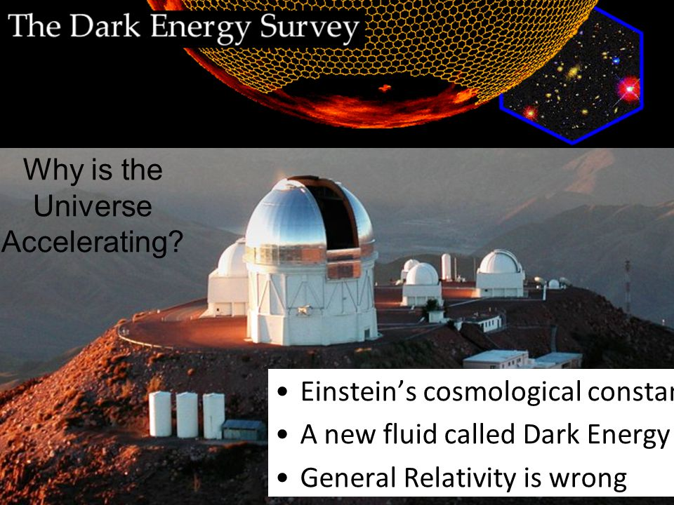 Future prospects The Dark Energy Survey Einstein's cosmological constant A new fluid called Dark Energy General Relativity is wrong Why is the Universe Accelerating