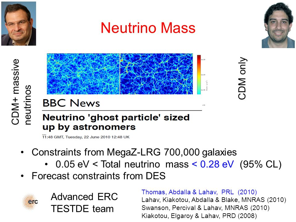 Neutrino Mass Thomas, Abdalla & Lahav, PRL (2010) Lahav, Kiakotou, Abdalla & Blake, MNRAS (2010) Swanson, Percival & Lahav, MNRAS (2010) Kiakotou, Elgaroy & Lahav, PRD (2008) Constraints from MegaZ-LRG 700,000 galaxies 0.05 eV < Total neutrino mass < 0.28 eV (95% CL) Forecast constraints from DES CDM+ massive neutrinos CDM only Advanced ERC TESTDE team