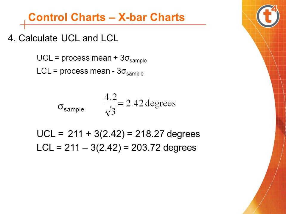 4. Calculate UCL and LCL UCL = process mean + 3σ sample LCL = process mean - 3σ sample σ sample UCL = 211 + 3(2.42) = 218.27 degrees LCL = 211 – 3(2.4