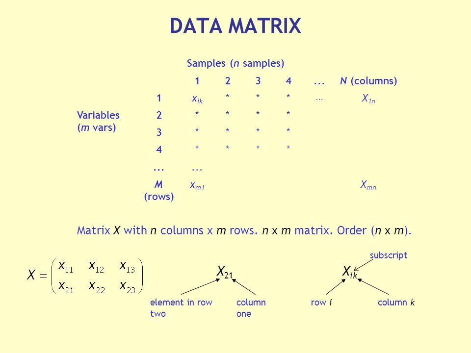 Samples (n samples) 1234...N (columns) 1x ik ***...