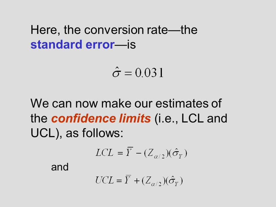 Here, the conversion rate—the standard error—is We can now make our estimates of the confidence limits (i.e., LCL and UCL), as follows: and