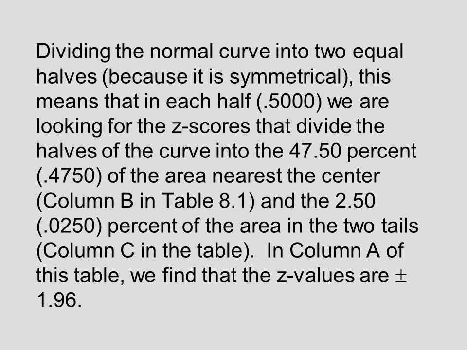 We have everything that we need except the appropriate z-values from the table for the normal curve.