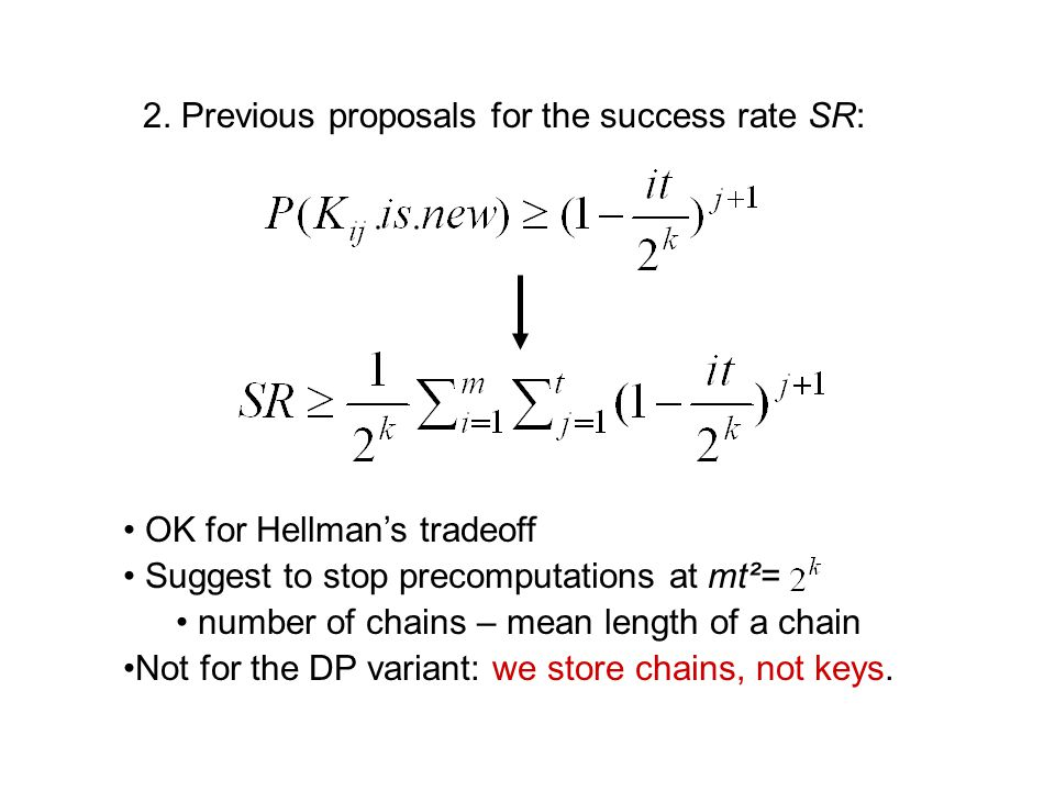 2. Previous proposals for the success rate SR: OK for Hellman's tradeoff Suggest to stop precomputations at mt²= number of chains – mean length of a c