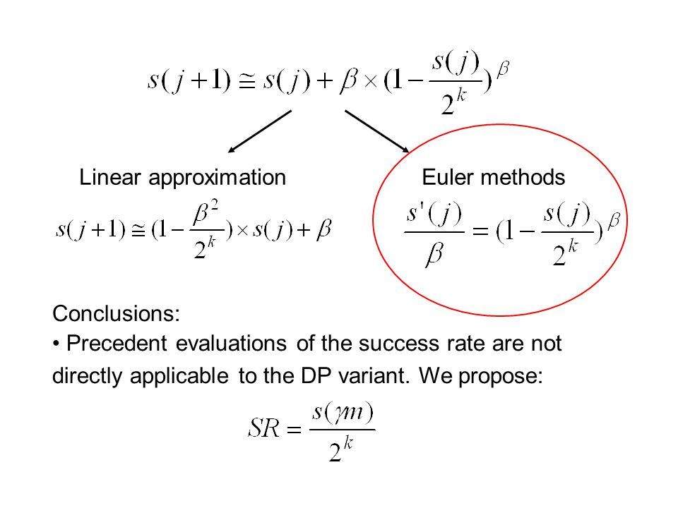 Linear approximation Euler methods Conclusions: Precedent evaluations of the success rate are not directly applicable to the DP variant. We propose: