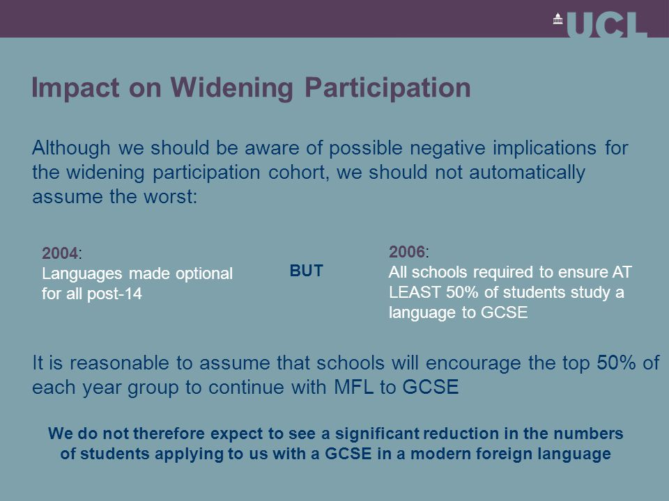 Impact on Widening Participation Although we should be aware of possible negative implications for the widening participation cohort, we should not automatically assume the worst: 2004: Languages made optional for all post-14 2006: All schools required to ensure AT LEAST 50% of students study a language to GCSE BUT It is reasonable to assume that schools will encourage the top 50% of each year group to continue with MFL to GCSE We do not therefore expect to see a significant reduction in the numbers of students applying to us with a GCSE in a modern foreign language