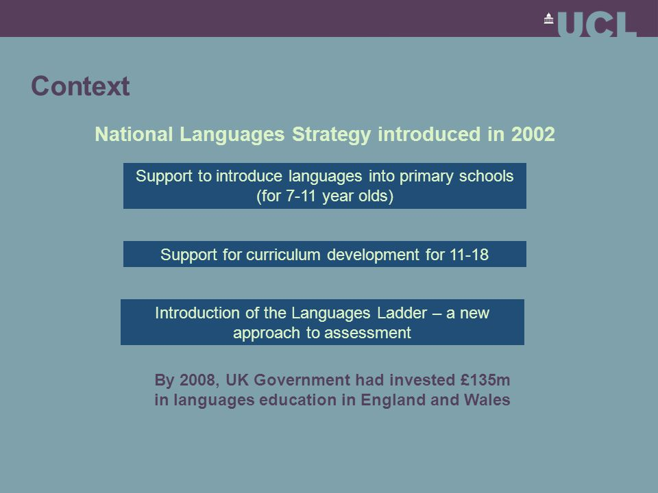 Context Languages will be compulsory in primary schools after the next curriculum review (currently underway for introduction in 2011) 50-90% of students 'expected' to learn a language to 16 Government definition of 'classroom' languages widened to include community and heritage languages Languages Ladder and associated qualifications (Asset Languages) starting to have a real impact