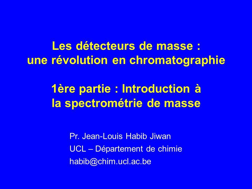 Les détecteurs de masse : une révolution en chromatographie 1ère partie : Introduction à la spectrométrie de masse Pr.