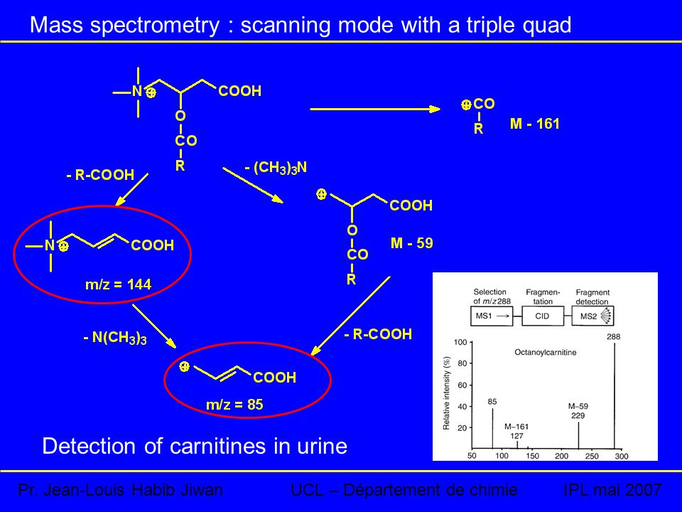 Mass spectrometry : scanning mode with a triple quad Detection of carnitines in urine Pr.