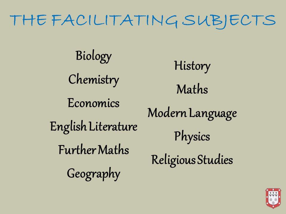 THE FACILITATING SUBJECTS Biology Chemistry Economics English Literature Further Maths Geography History Maths Modern Language Physics Religious Studi