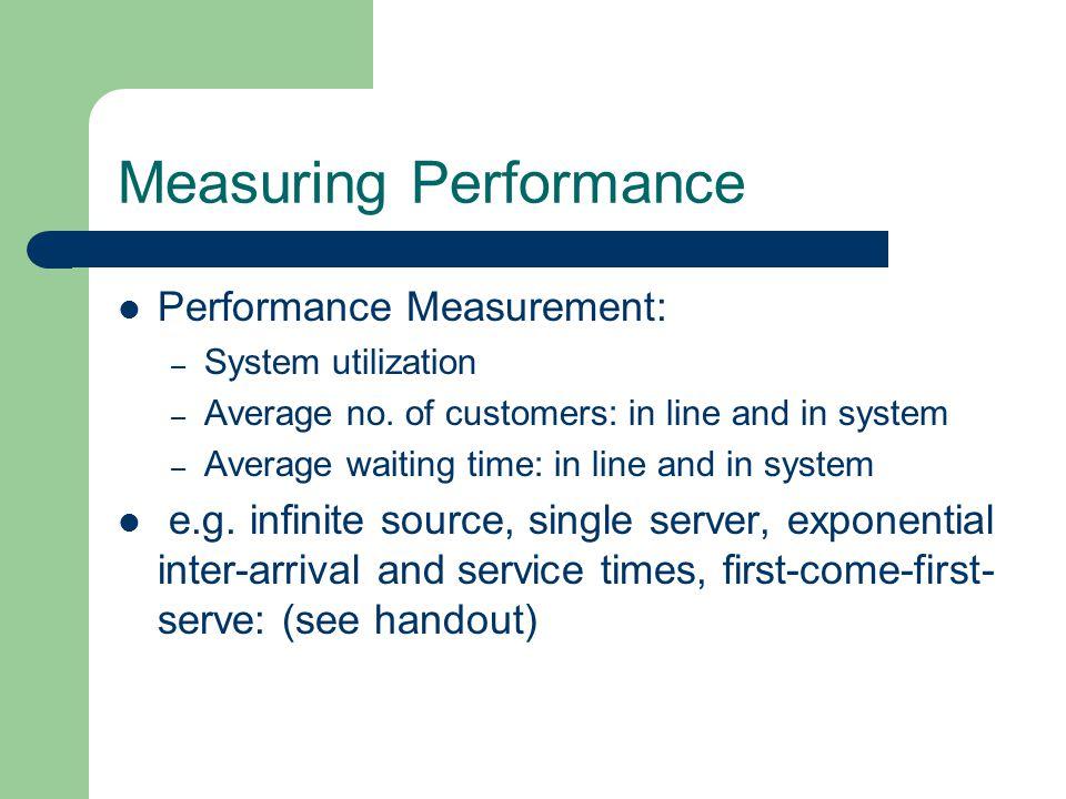 Measuring Performance Performance Measurement: – System utilization – Average no.
