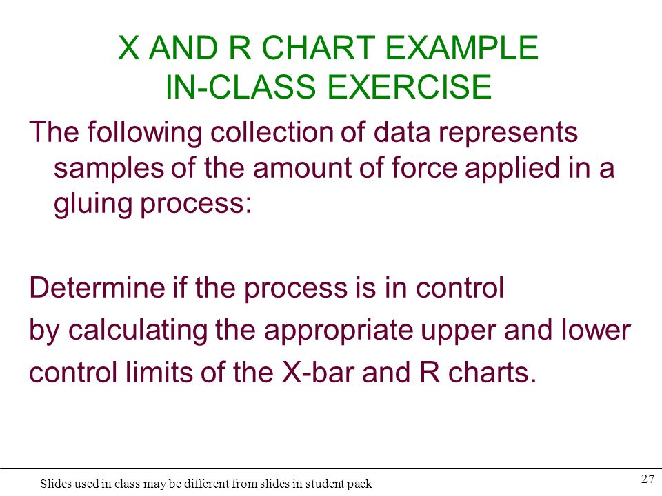 28 Slides used in class may be different from slides in student pack X AND R CHART EXAMPLE IN-CLASS EXERCISE