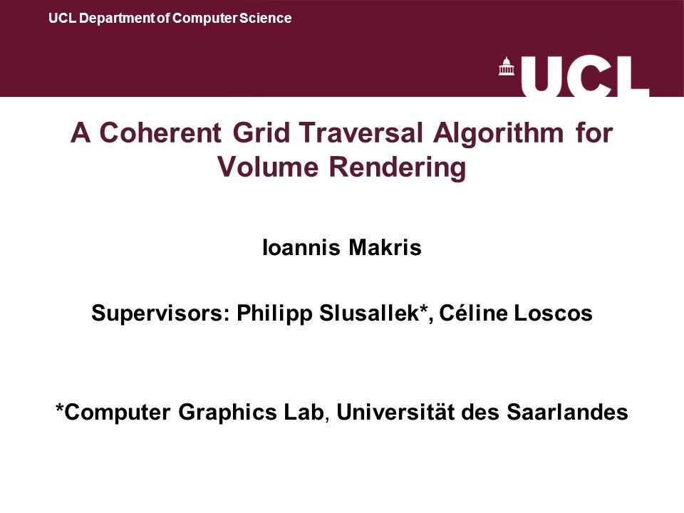 12 A Coherent Grid Traversal Algorithm for Volume Rendering (2) The volume rendering version of the algorithm uses a bricked volume (Sakas et al 1994), bricks replace the grid elements.