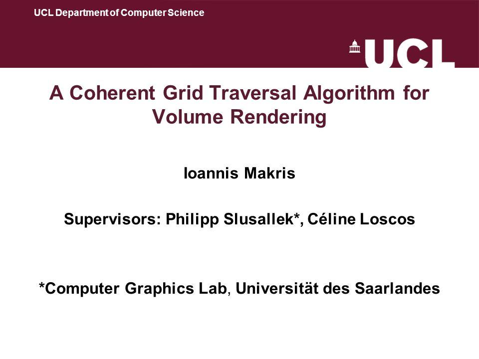 A Coherent Grid Traversal Algorithm for Volume Rendering Ioannis Makris Supervisors: Philipp Slusallek*, Céline Loscos *Computer Graphics Lab, Univers