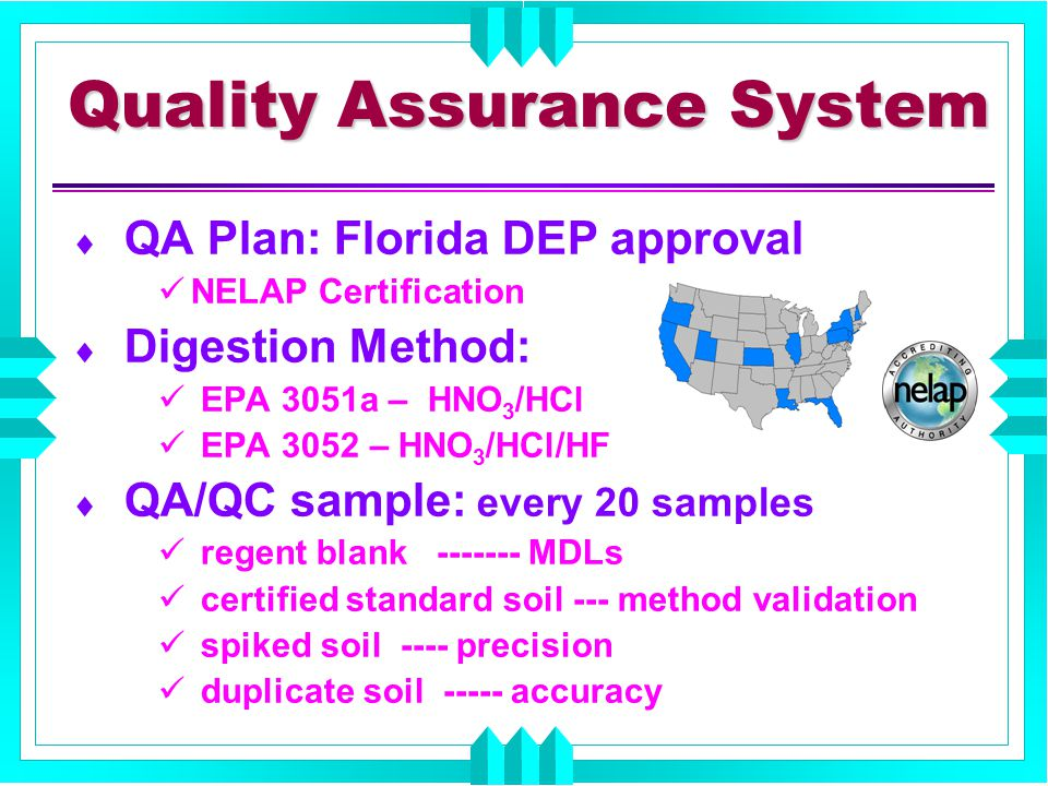 Quality Assurance System  QA Plan: Florida DEP approval NELAP Certification  Digestion Method: EPA 3051a – HNO 3 /HCl EPA 3052 – HNO 3 /HCl/HF  QA/QC sample: every 20 samples regent blank ------- MDLs certified standard soil --- method validation spiked soil ---- precision duplicate soil ----- accuracy