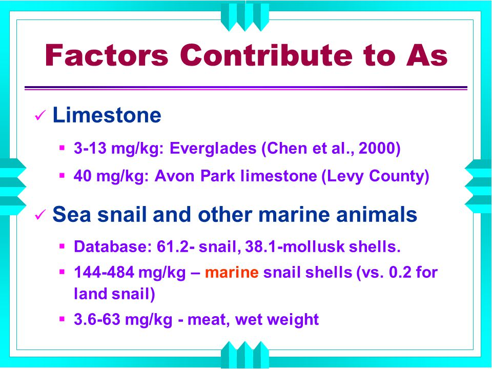 Factors Contribute to As Limestone  3-13 mg/kg: Everglades (Chen et al., 2000)  40 mg/kg: Avon Park limestone (Levy County) Sea snail and other marine animals  Database: 61.2- snail, 38.1-mollusk shells.