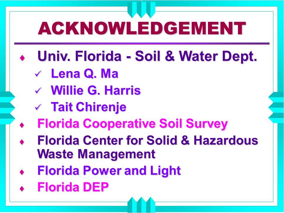 ACKNOWLEDGEMENT  Univ. Florida - Soil & Water Dept. Lena Q. Ma Lena Q. Ma Willie G. Harris Willie G. Harris Tait Chirenje Tait Chirenje  Florida Coo