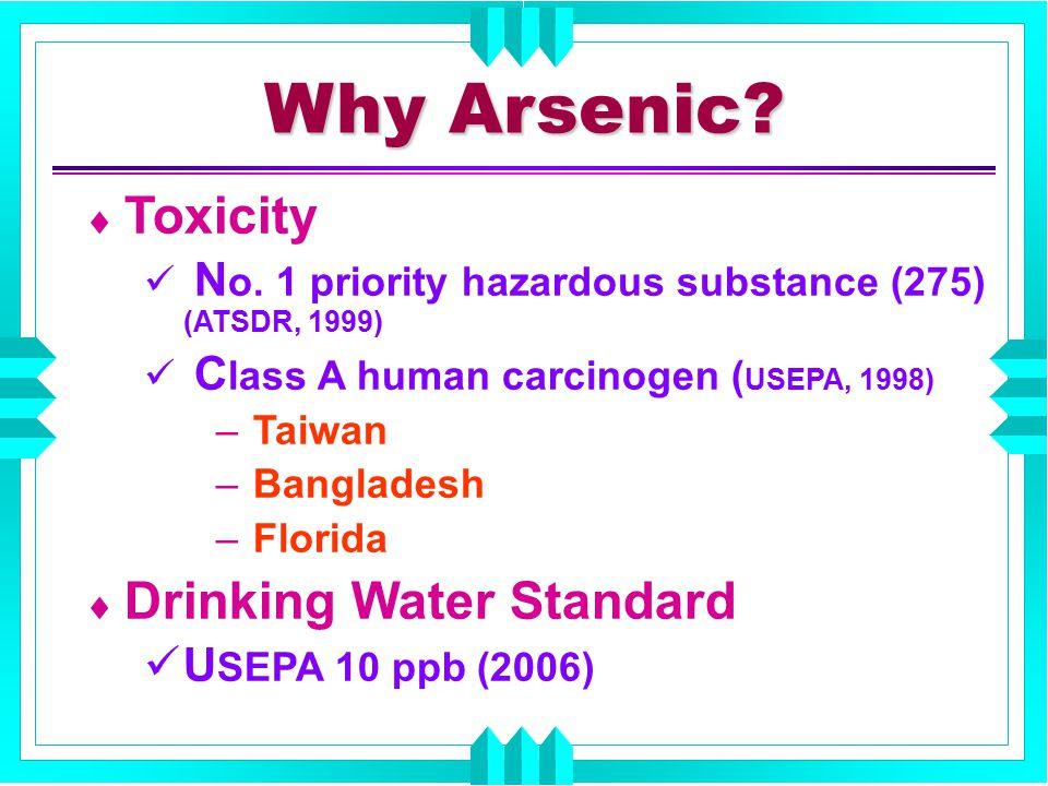  Toxicity N o. 1 priority hazardous substance (275) (ATSDR, 1999) C lass A human carcinogen ( USEPA, 1998) – Taiwan – Bangladesh – Florida  Drinking