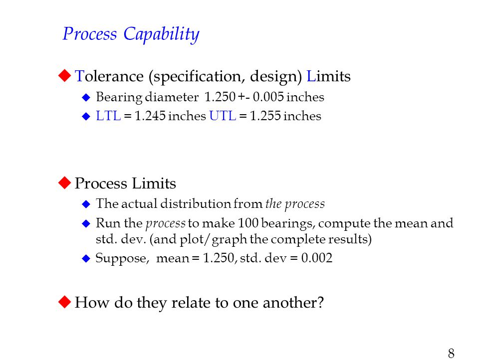 8 Process Capability  Tolerance (specification, design) Limits  Bearing diameter 1.250 +- 0.005 inches  LTL = 1.245 inches UTL = 1.255 inches  Pro