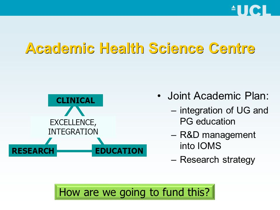 Academic Health Science Centre Joint Academic Plan: –integration of UG and PG education –R&D management into IOMS –Research strategy EXCELLENCE, INTEG