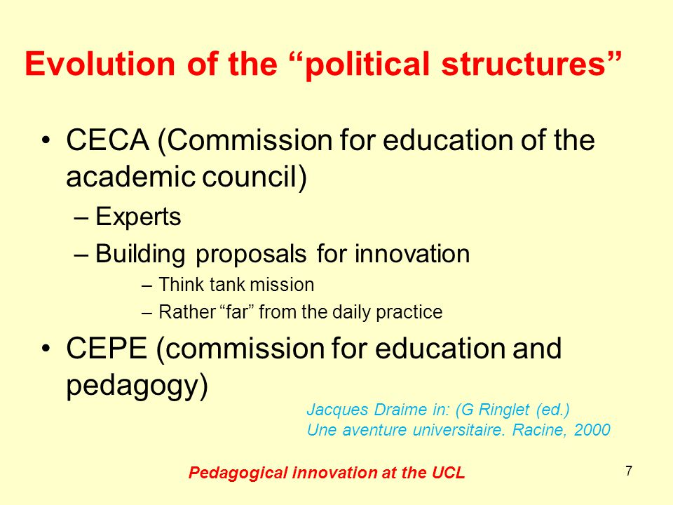 Examples of proposals (1995 - 1997) –Five axes for a more pedagogical university Active (student centered ) pedagogy Personal mentoring for teachers Teacher teams Evaluation of courses and tests Teachers-students coordination comities –In 1997 : a general tool for course evaluation 8 Jacques Draime in: (G Ringlet (ed.) Une aventure universitaire.