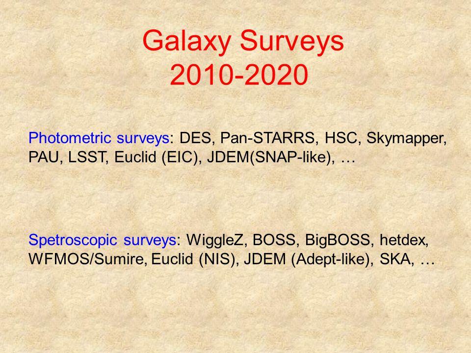 Galaxy Surveys 2010-2020 Photometric surveys: DES, Pan-STARRS, HSC, Skymapper, PAU, LSST, Euclid (EIC), JDEM(SNAP-like), … Spetroscopic surveys: Wiggl