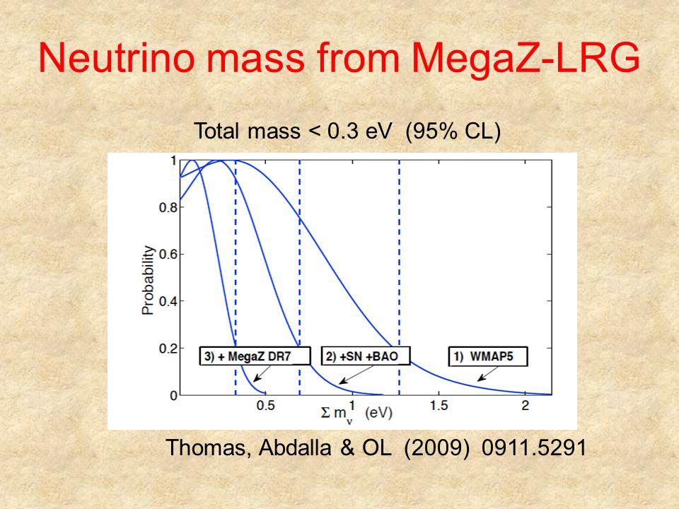 Neutrino mass from MegaZ-LRG Thomas, Abdalla & OL (2009) 0911.5291 Total mass < 0.3 eV (95% CL)